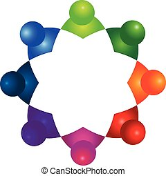 ロゴ, 3d, チームワーク, 人々, アイコン