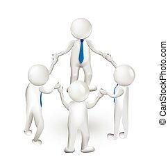 ロゴ, 3d, チームワーク, 手を持つ