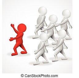 ロゴ, 3d, リーダー, ビジネス 人々