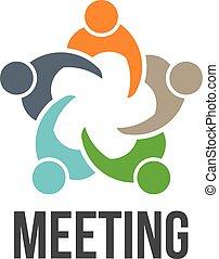 ロゴ, 5, meeting., グループ, 人々