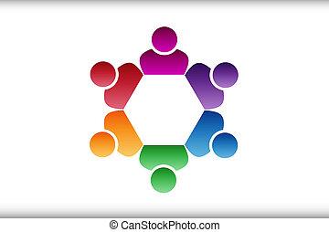 ロゴ, 6, チームワーク, 人々