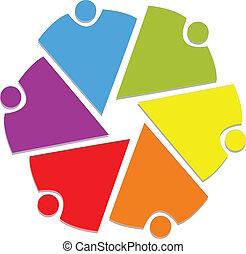 ロゴ, 6, チームワーク, 共同体, 人々