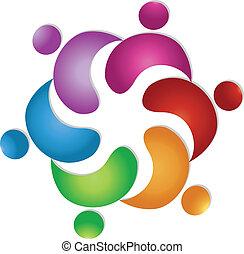 ロゴ, 6, チームワーク, 友情, 人々