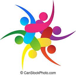 ロゴ, 6, ベクトル, チームワーク, swooshes