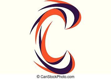 ロゴ, c, ベクトル, 手紙