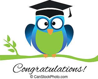 ロゴ, congrats, 卒業, フクロウ