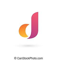 ロゴ, d, 手紙, アイコン