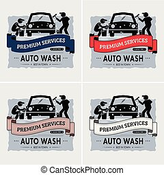 ロゴ, design., 洗いなさい, 自動車