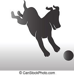 ロゴ, doggy, ボール, 幸せ