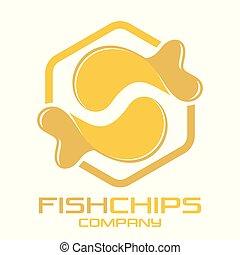 ロゴ, fish, チップ