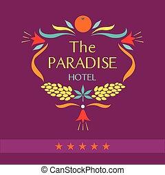 ロゴ, hotel., ベクトル, paradise.