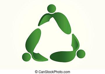 ロゴ, leafs, シンボルをリサイクルしなさい, ベクトル, イメージ