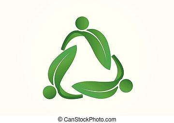 ロゴ, leafs, シンボルをリサイクルしなさい, ベクトル