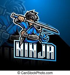 ロゴ, ninja, デザイン, esport, マスコット