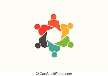 ロゴ, responsable, グループ, 共同体, 人々