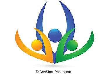 ロゴ, swooshes, チームワーク, ビジネス