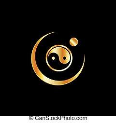 ロゴ, yin, 概念, 調和, yang