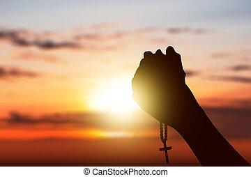 ロザリオビーズ, 手, 神, 人間, 上げられた, 間, 祈ること