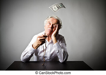 ロザリオ, 1(人・つ), dollar., 古い, 落ちる, 祈ること, beads., 人