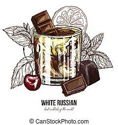 ロシア人, さくらんぼ, 白, カクテル, チョコレート
