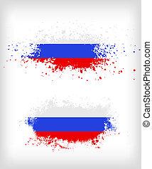 ロシア人, グランジ, 旗, はね飛ばされる, インク