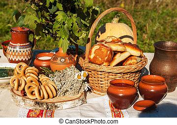 ロシア人, テーブル, 食物