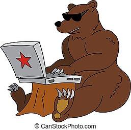 ロシア人, ハッカー, ユーモラスである, イラスト, -, 怒る, ヒグマ, ∥で∥, ラップトップ