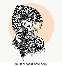 ロシア人, 伝統的である, 女の子, 美しさ