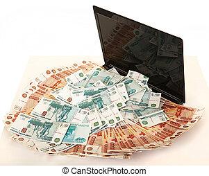 ロシア人, 大きい, 大量の金, 上に, a, ラップトップ