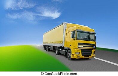 ロジスティクス, のまわり, -, トラック, 世界, 輸送