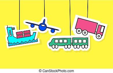 ロジスティクス, アイコン, 列車, 黄色, 容器, 飛行機, トラック, 背景