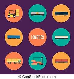 ロジスティクス, セット, 交通機関, アイコン