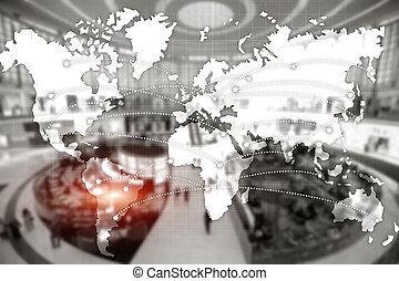 ロジスティクス, 世界的である, モール, 概念, partnership., ドバイ, エクスポート, 輸入, center., 地図