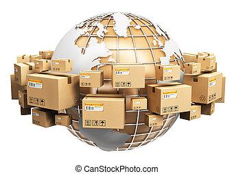 ロジスティクス, 世界的である, 世界的に, 概念, 出荷
