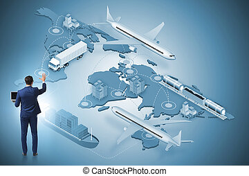 ロジスティクス, 世界的である, 概念, ビジネスマン