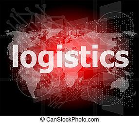 ロジスティクス, 単語, ビジネス, スクリーン, デジタル, concept: