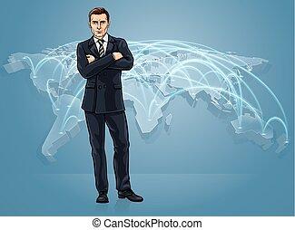 ロジスティクス, 地図, 概念, ビジネス, 世界的な貿易, 世界