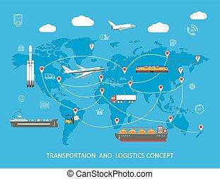 ロジスティクス, 平ら, concept., 世界的である, 交通機関