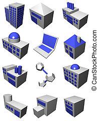 ロジスティクス, 灰色, セット, 鎖, 供給, 産業, 青