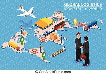 ロジスティクス, 貨物, 等大, 概念, 交通機関, ネットワーク, ビジネス, 平ら, 世界的である, 柵, 合意, ...
