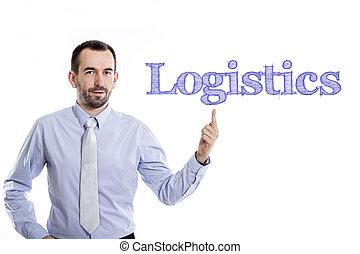 ロジスティクス, 青いシャツ, 指すこと, -, 若い, の上, 小さい, ビジネスマン, ひげ