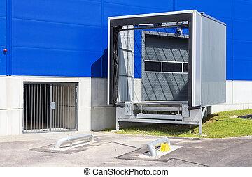 ロジスティクス, center., ローディング, ドッキング, 場所, 現代, ドック, warehouse., 分配