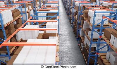 ロジスティックである, warehouse., seamless, ラック, 4k, パレット, 箱, 倉庫, アニメーション, 巨大, 3d, loop-able, 現代, shelves., 大きい, 満たされた, center., ボール紙, 中