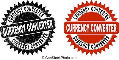 ロゼット, 通貨, 変換器, 腐食させられた, 黒, シール, 手ざわり