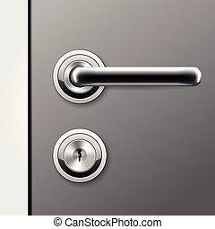 ロックされた, ドアノブ, 平ら, ドアの キー, -, 鍵穴, ハンドル, 現代