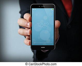 ロックされた, ビジネスマン, smartphone