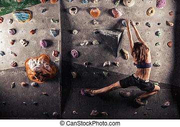 ロッククライミング, 女, 練習する