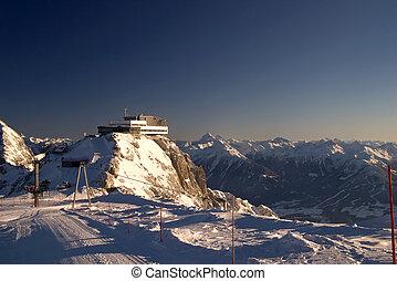 ロッジ, オーストリア, スキー, 冬, areal