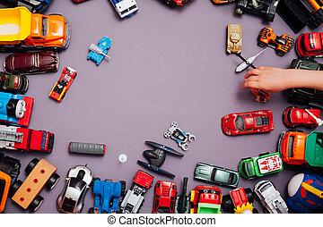 ロット, 背景, おもちゃ, ゲーム, 開発, 自動車, 子供, 子供