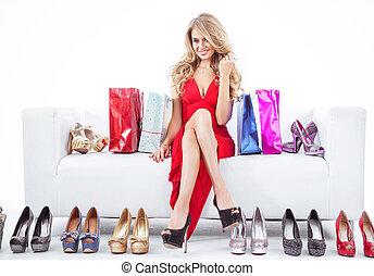 ロット, 靴, 女, 流行